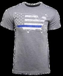 Glock Blue Line Patriot T-Shirt Grey Lrg