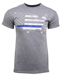 Glock Blue Line Patriot T-Shirt Grey Med