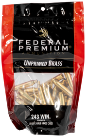 Federal Gold Medal Unprimed Brass 243 Win, 50rd/Bag