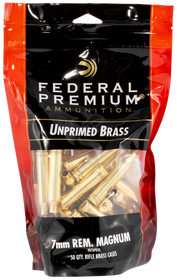 Federal Gold Medal Unprimed Brass 7mm Rem Mag, 50rd/Bag
