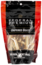 Federal Gold Medal Unprimed Brass 300 WSM, 50rd/Bag