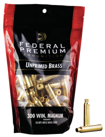 Federal Gold Medal Unprimed Brass 300 Win Mag, 50rd/Bag