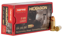Norma Hexagon 9mm 124Gr, Hexagon, 50rd/Box