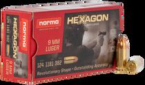 Norma Hexagon 9mm 124Gr, Hexagon, 50rd Box