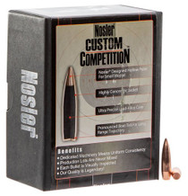 Nosler Custom Competition Reloading Bullets 6.5mm .264 100gr, Hollow Point Boat Tail, 200 Box