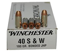Winchester USA .40 SW 180 Gr, Jacketed Hollow Point Bonded, 50rd/Box