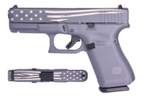 "Glock 19 Gen5 9mm, 4"" Barrel, Gray/Laser Engraved Distressed Flag, 15rd"
