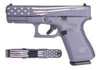 """Glock 19 Gen5 9mm, 4"""" Barrel, Gray/Laser Engraved Distressed Flag, 15rd"""