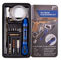 DAC .22 Pistol Cleaning Kit, 15 Pieces, 22 Cal, Includes Ratchet Handle and Bit Set, Slim Line Metal Case