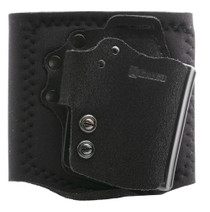 Galco Ankle Guard (Ankle Holster), Right Hand, Fits Glock 42 & Sig P365, Black Leather