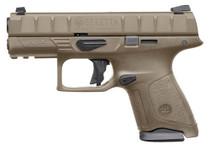 "Beretta APX Compact 9mm, 3.70"" Barrel, Flat Dark Earth, 3 Dot Removable Sight, 10rd"
