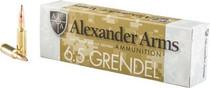 Alexander Arms 6.5 Grendel Lapua Scenar 123gr, Hollow Point, 20rd Box