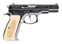 """CZ 75B 45TH Anniversary DA/SA, Full Size, 9mm, 4.6"""" Barrel, Steel Frame, High Gloss Blued Finish, Wood Grips, 16Rd, Swappable Safety/Decocker, Night Sights"""