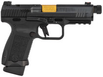"CANIK TP9F Elite Combat Executive, Striker Fired, 9mm, 4.73"" Salient PVD Gold Finish Threaded Barrel, Polymer Frame, Aluminium Speed Funnel Mag Well, Black, Fiber Optic Front Sight, Vortex Viper Sight Included, Charging Handle, 1 15Rd and 1 18Rd M"