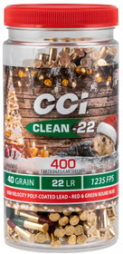 CCI Clean-22 Christmas Ammo 22 LR 40gr, Lead Round Nose Poly-Coated Red/Green 400 Rd Can