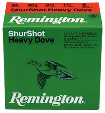 "Remington Shurshot Heavy Dove Loads 12 Ga, 2.75"", 1-1/8oz, 8 Shot, 25rd/Box"