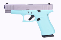 "Glock 48 9mm, 4"" Barrel, Fixed Sights, Robin Egg Blue, Silver nPVD Slide, 2x 10rd"