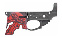 Spikes Rare Breed Spartan Stripped Lower, Multi-Cal, Black, Painted Red Helmet