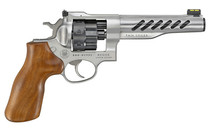 """Ruger Super GP100 Full Size 9mm, 6"""" Barrel, Stainless Steel, Hogue Wood Grips, 3 Moon Clips, Fiber Optic Front Sight, Adj Rear Sight, 8rd"""