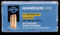 PPU Handgun 44 Rem Mag 240gr, Jacketed Hollow Point, 50rd/Box