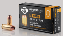 PPU Handgun Defense 45 ACP 185gr, Jacketed Hollow Point, 50rd Box