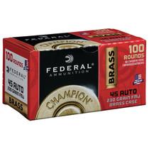 Federal Brass Ammo 45 ACP 230gr, Full Metal Jacked, 100rd/Box