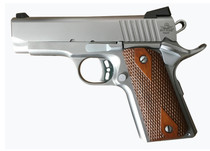 """Rock Island ECS 1911, Compact, 45ACP, 3.63"""" Barrel, Steel Frame, Stainless Finish, Wood Grips, Fixed Sights, 7Rd, 1 Magazine"""