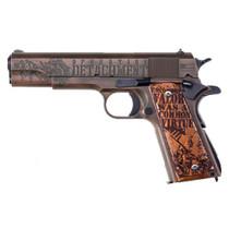 "Auto Ordnance Iwo Jima Commemorative 1911 45 ACP, 5"" Barrel, Steel Frame, Olive Drab, Distressed Copper, Engraved, 7rd"