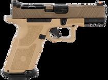 "ZEV Technologies O.Z-9 Compact X 9mm, 4"" Black Barrel, Steel Frame, Polymer X Grip, Flat Dark Earth, 17rd"