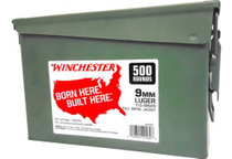 Winchester Handgun Ammo 9mm 115gr, FMJ 500 Rounds per Can - 2 Cans - Total 1000 Rounds