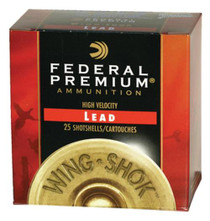 "Federal Premium Wing-Shok High Velocity Lead 12ga, 2.75"", 1-1/8oz, 4 Shot, 25rd/Box"