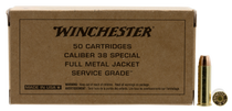 Winchester Service Grade 38 Special 130gr, Full Metal Jacket, Flat Nose, 50rd Box