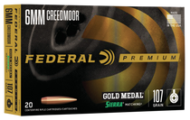 Federal Premium Gold Medal 6mm Creedmoor 107gr, Sierra MatchKing Boat-Tail Hollow Point (BTHP), 20rd Box