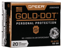 Speer Gold Dot Personal Protection  32 Automatic Colt Pistol (ACP) 60gr, Hollow Point, 20rd Box