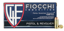 Fiocchi Shooting Dynamics 10mm ACP 180gr, Full Metal Jacket Truncated-Cone, 50rd Box