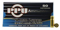 PPU Blank Ammo  9mm, 50rd Box