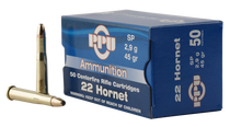 PPU Standard Rifle 22 Hornet 45gr, Soft Point, 50rd Box