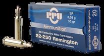 PPU Standard Rifle 22-250 Remington 55gr, Soft Point, 20rd Box