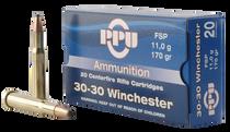 PPU Standard Rifle 30-30 Winchester 170gr, Flat Soft Point (FSP), 20rd Box