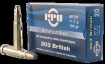 PPU Standard Rifle 303 British 180gr, Soft Point, 20rd Box