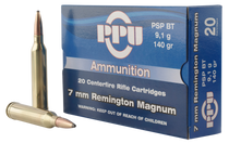 PPU Standard Rifle 7mm Remington Mag 140gr, Pointed Soft Point, 20rd Box