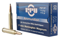 PPU Standard Rifle 7mm Remington Mag 174gr, Pointed Soft Point, 20rd Box