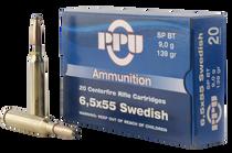 PPU Metric Rifle 6.5X55 Swedish 139gr, Soft Point, 20rd Box