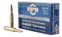 PPU Metric Rifle 6.5x52mm Carcano 139gr Full Metal Jacket, 20rd Box