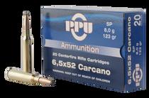 PPU Metric Rifle SP 6.5x52mm Carcano 123gr, Soft Point, 20rd Box