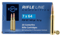 PPU Metric Rifle 7x64mm Brenneke 140gr, Pointed Soft Point Boat Tail, 20rd Box