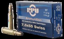 PPU Metric Rifle 7.5x55mm Swiss 174gr, Soft Point, 20rd Box