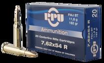 PPU Metric Rifle 7.62x54mm Russian 182gr, Full Metal Jacket, 20rd Box