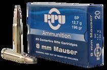 PPU Metric Rifle 8mm Mauser 196gr, Soft Point, 20rd Box