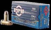 PPU Handgun 38 Super +P 130gr, Full Metal Jacket, 50rd Box
